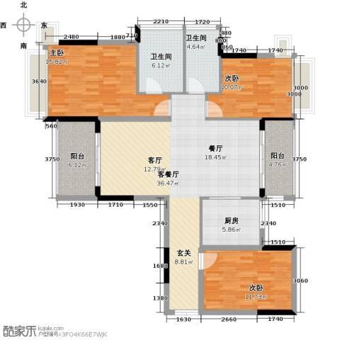 雅居乐御宾府3室1厅2卫1厨127.00㎡户型图