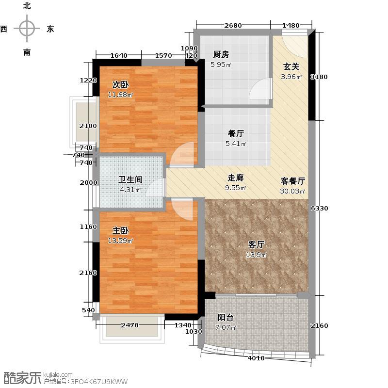 庄士映蝶蓝湾81.00㎡G栋02单元户型2室1厅1卫1厨