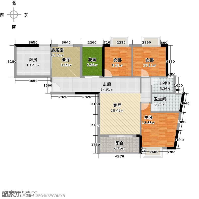 优山美墅123.54㎡E1幢2-18层05户型3室2卫1厨