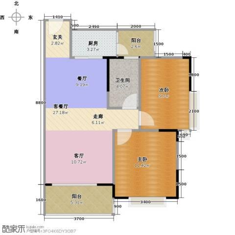 东魅蓝山郡2室1厅1卫1厨86.00㎡户型图