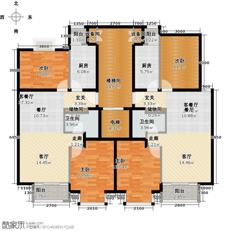 润泽悦溪88.00㎡Ab单元标准层平面图户型4室2厅2卫2厨