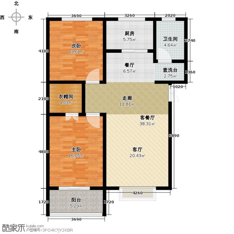 玫瑰湾97.94㎡3号楼a户型2室1厅1卫1厨