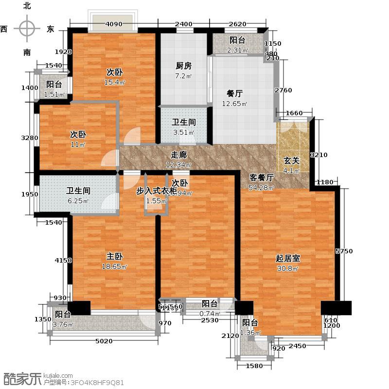 北京华侨城167.49㎡A2-8号楼AnD户型4室1厅2卫1厨