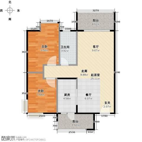 南国雅苑二期2室0厅1卫1厨81.00㎡户型图
