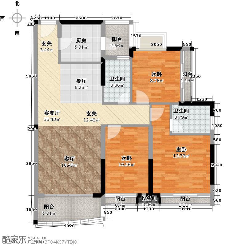 庄士映蝶蓝湾106.00㎡二期L栋01户型3室1厅2卫1厨