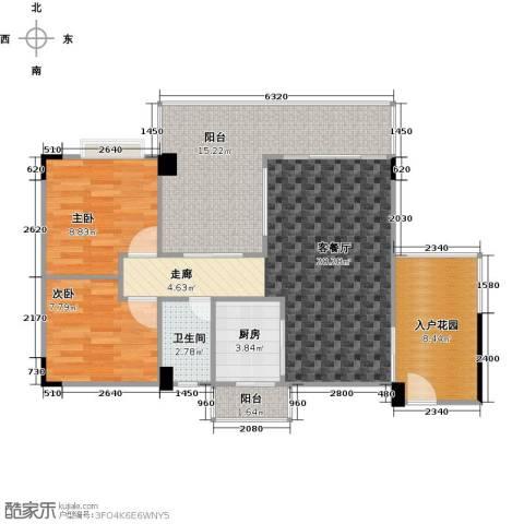 花季华庭2室0厅1卫1厨98.00㎡户型图