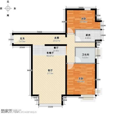 优品国际公寓2室1厅1卫1厨114.00㎡户型图
