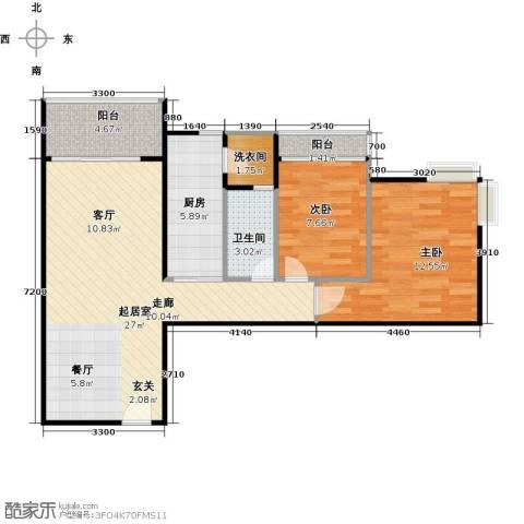 南国雅苑二期2室0厅1卫1厨87.00㎡户型图