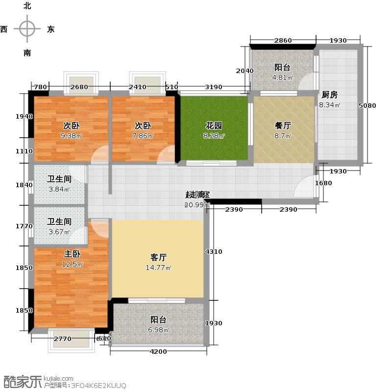 优山美墅125.18㎡E1幢2-18层08户型3室2卫1厨