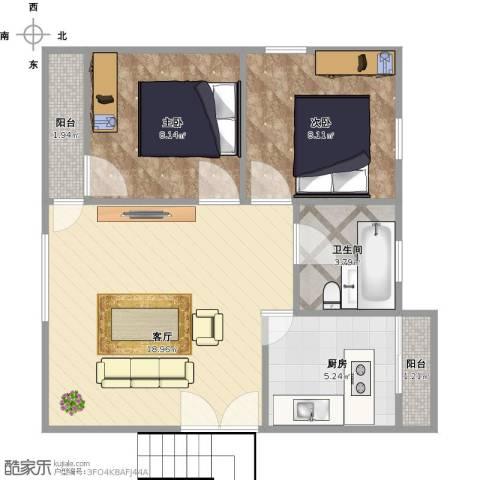 凤凰山庄2室1厅1卫1厨65.00㎡户型图