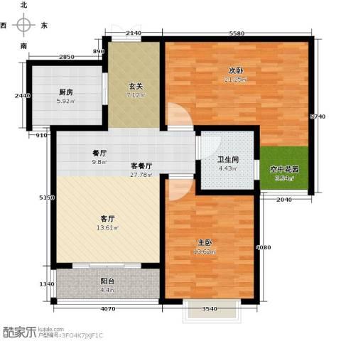 玫瑰湾2室1厅1卫1厨87.00㎡户型图