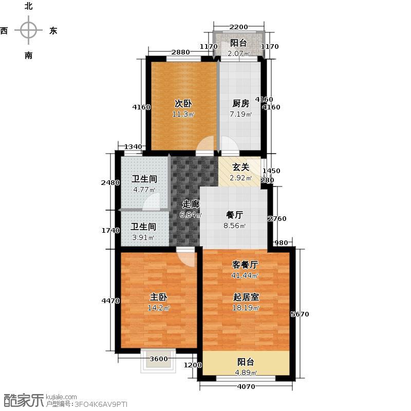 北京奥林匹克花园105.81㎡b1户型2室1厅1卫1厨