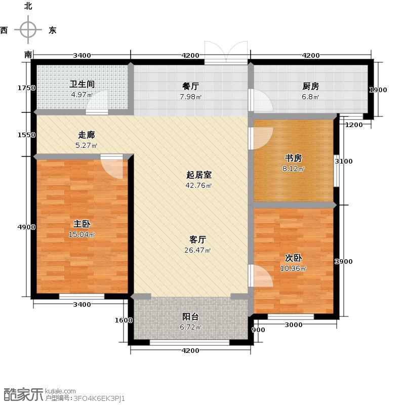 博雅园116.06㎡4#标准层二户型3室1卫1厨