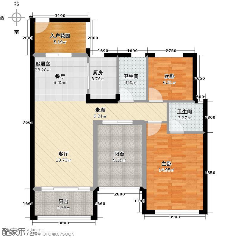 豪利花园93.69㎡三期豪景阁D栋2-13层01单元南向户型2室2卫1厨