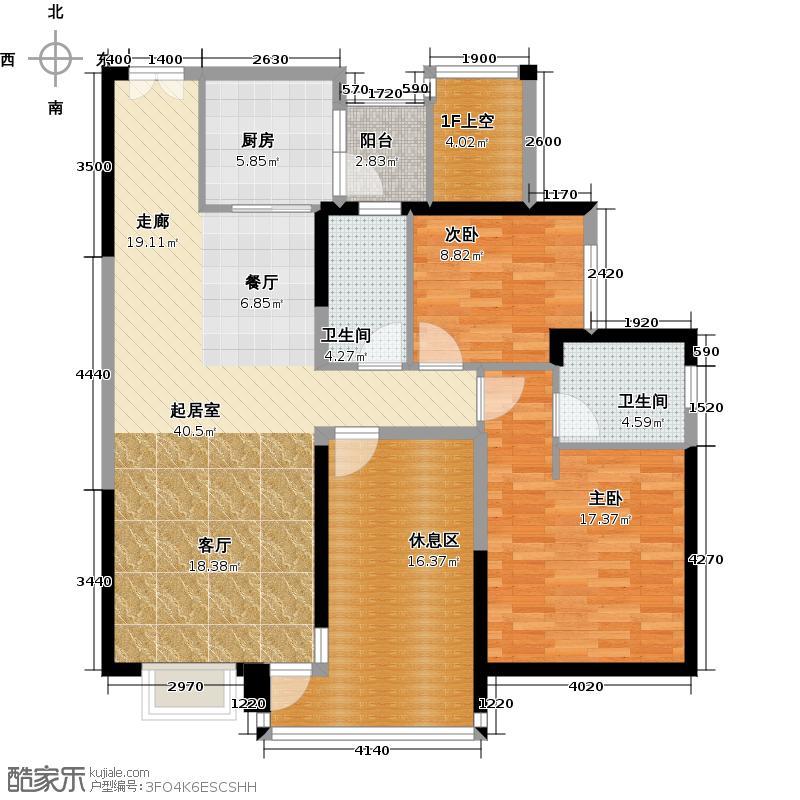 江南第一城118.12㎡户型2室2卫1厨