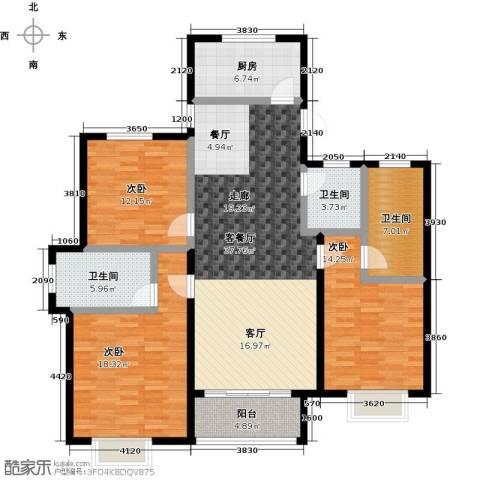 汇豪山水华府3室1厅3卫1厨128.00㎡户型图