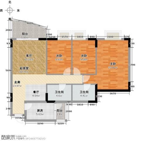 三正世纪豪庭3室0厅2卫1厨131.00㎡户型图
