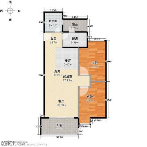 南国雅苑二期2室0厅1卫1厨82.00㎡户型图