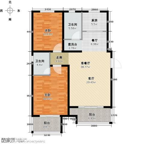 玫瑰湾2室1厅2卫1厨109.00㎡户型图