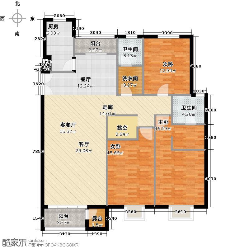 水墨林溪141.63㎡二期D1户型3室1厅2卫1厨