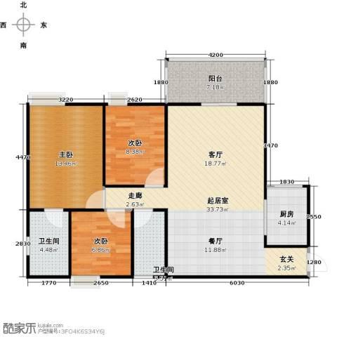 居益凯景中央3室0厅2卫1厨110.00㎡户型图