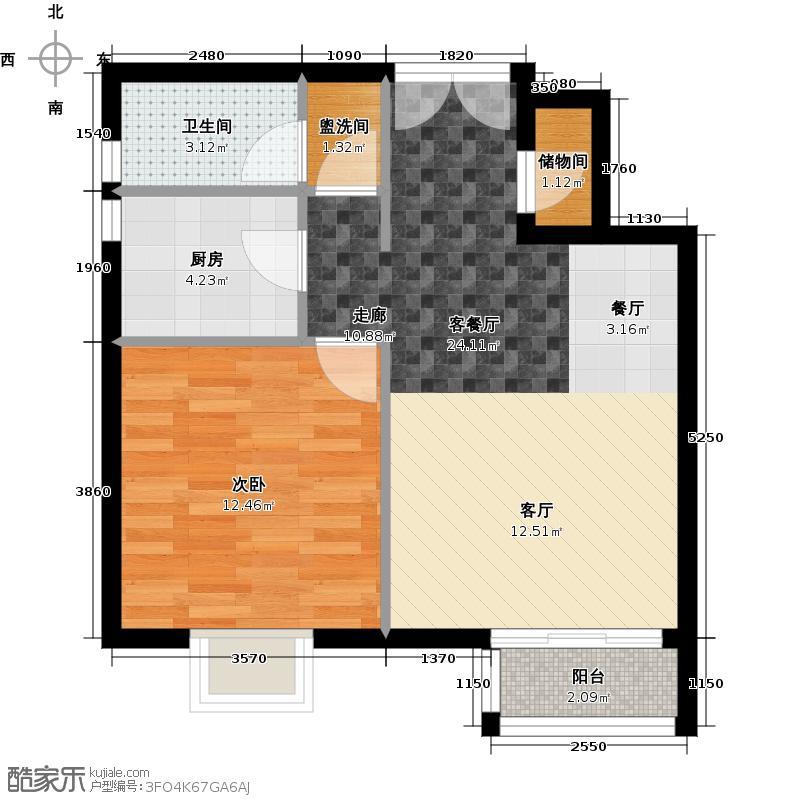 水墨林溪55.31㎡二期A3户型1室1厅1卫1厨