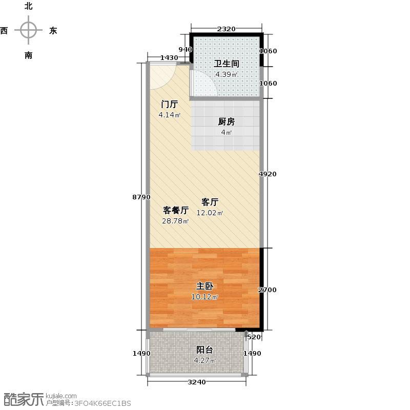 汇东国际花园41.51㎡4栋3-26F-09单位户型1厅1卫