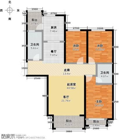 博雅园3室0厅2卫1厨132.00㎡户型图