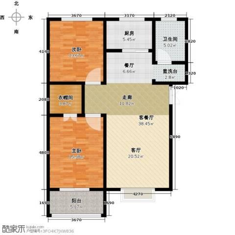 玫瑰湾2室1厅1卫1厨98.00㎡户型图