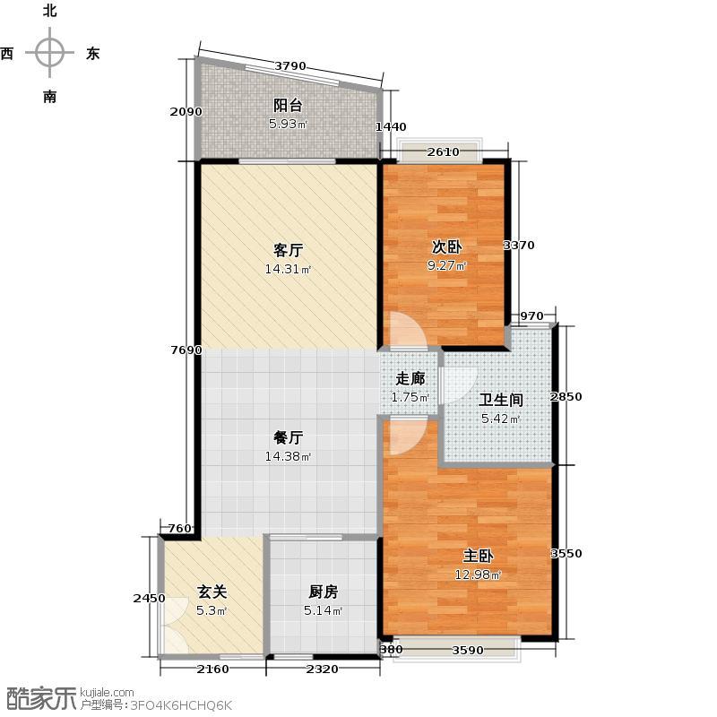 东山紫园商业72.83㎡B1-03南北对流户型2室1卫1厨