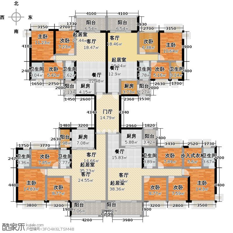 中澳丽珠花园409.02㎡户型9室8卫4厨