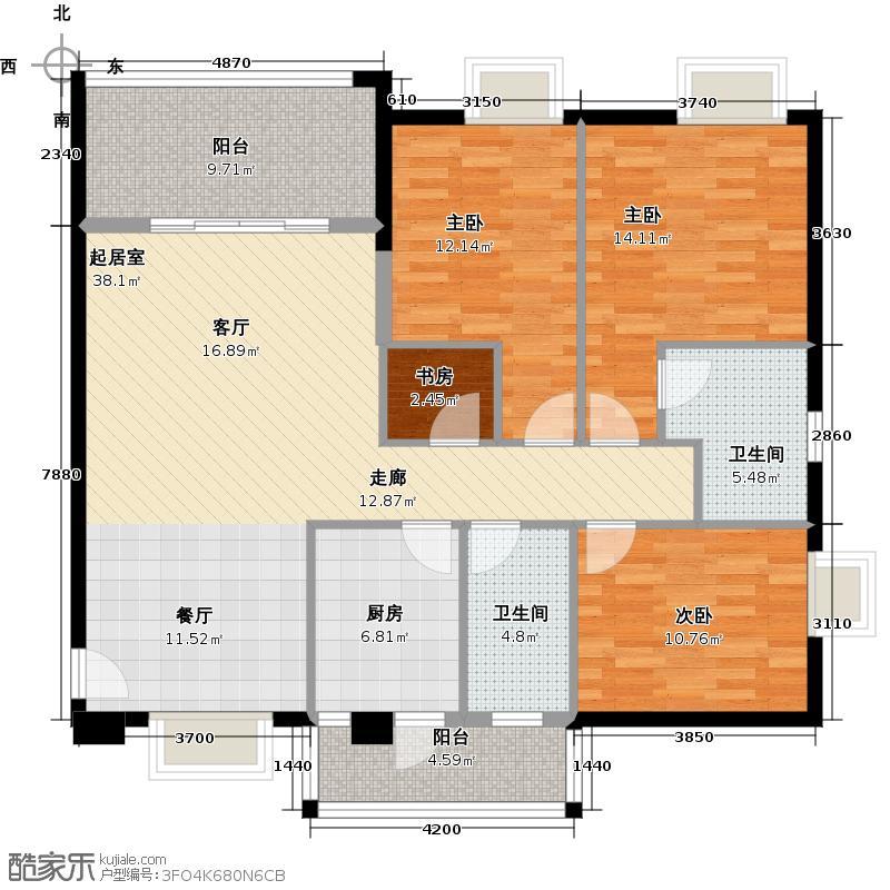 穗和城121.83㎡A栋07单元户型4室2卫1厨