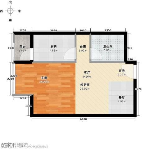 优品国际公寓1卫1厨51.00㎡户型图