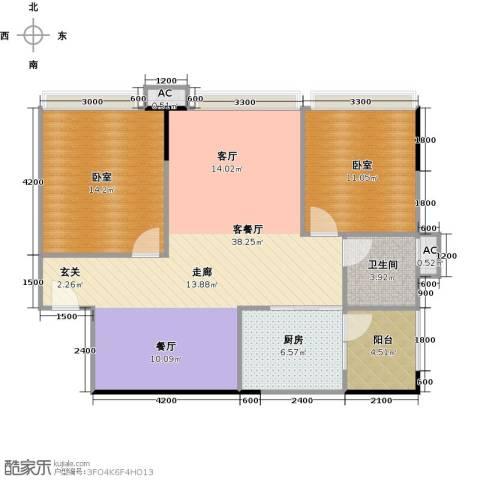 中兴花园二期1厅1卫1厨88.00㎡户型图