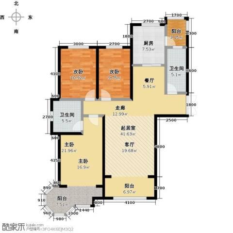博雅园3室0厅2卫1厨115.00㎡户型图