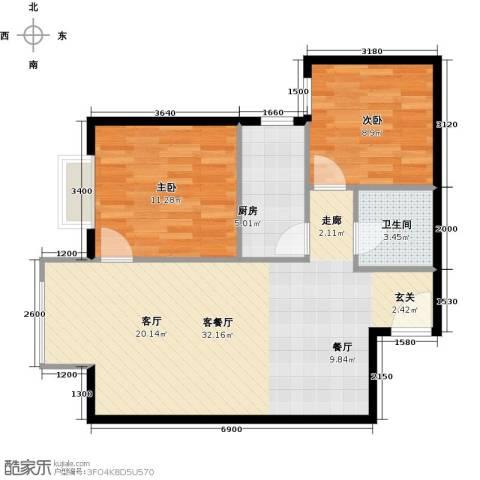 优品国际公寓2室1厅1卫1厨82.00㎡户型图