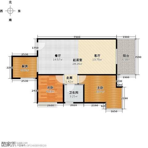 居益凯景中央2室0厅1卫1厨81.00㎡户型图