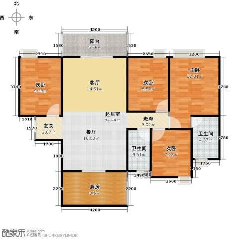 居益凯景中央4室0厅2卫1厨127.00㎡户型图