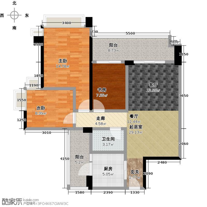 雅居乐锦城100.00㎡花间集4、5座0102单元户型3室1卫1厨