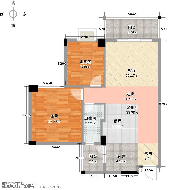 南沙玫瑰花园80.34㎡01单位户型2室1厅1卫