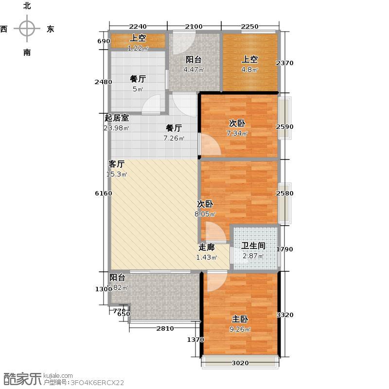 北部万科城78.00㎡一期B1-B11栋01单位户型3室1厅1卫