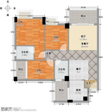 尚境雅筑3室1厅2卫1厨110.00㎡户型图