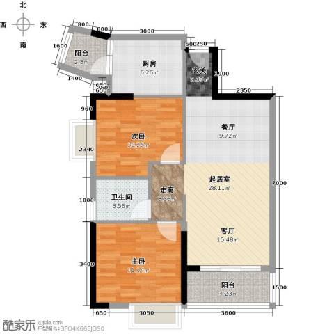 天安菁华公寓2室0厅1卫1厨90.00㎡户型图