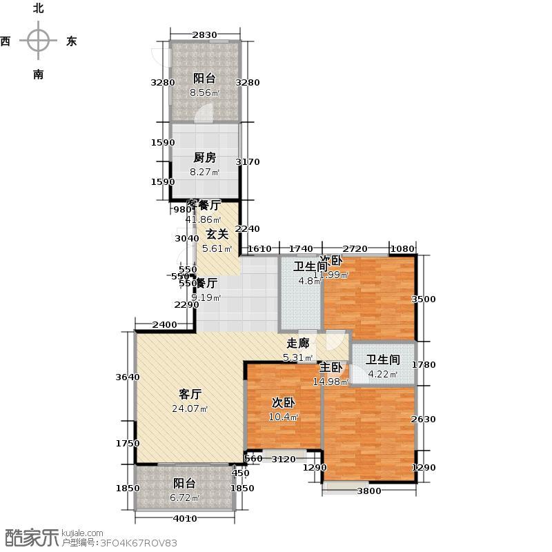 富力唐宁花园137.00㎡A5栋标准层01东南朝向户型3室1厅2卫1厨