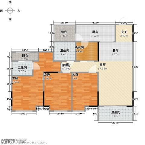 万科柏悦湾3室1厅3卫1厨120.00㎡户型图