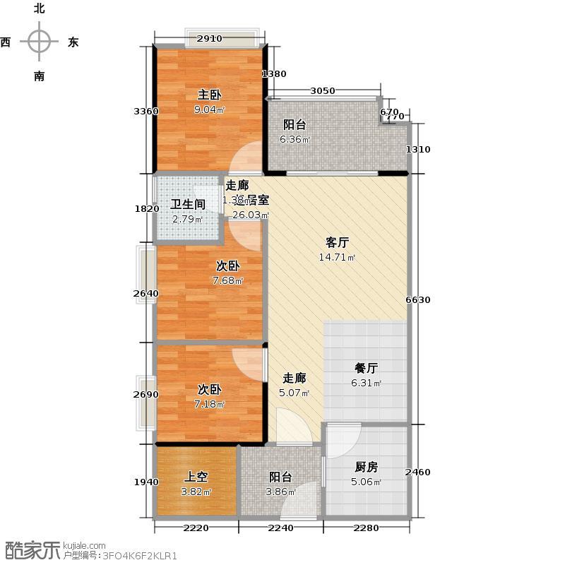 北部万科城78.00㎡一期B1-B11栋05单位户型3室1卫1厨