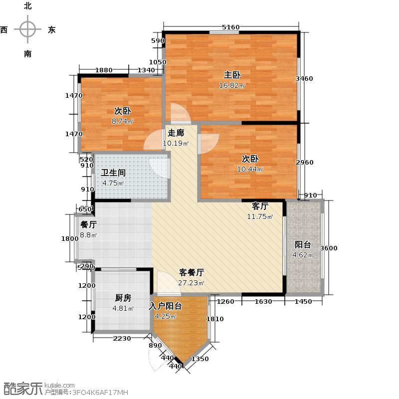 中海誉城85.00㎡A9栋04单位户型3室1厅1卫1厨