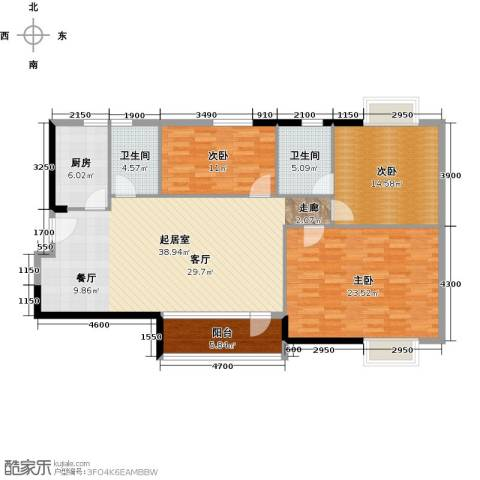 江南美景花园二期3室0厅2卫1厨122.00㎡户型图