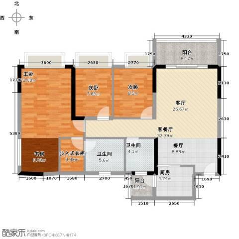 锦绣御景国际3室1厅2卫1厨114.00㎡户型图