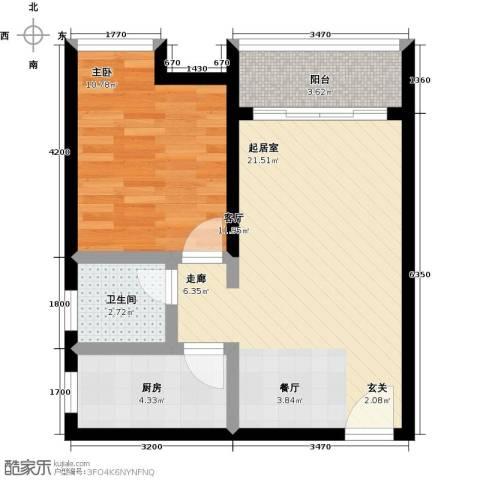 南沙境界・藏峰1室0厅1卫1厨58.00㎡户型图